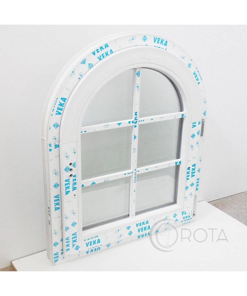 Arched casement window with muntin bars white upvc