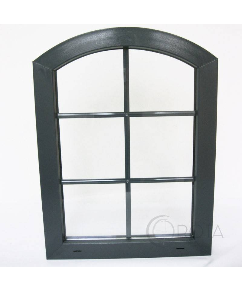 Arched fixed window with muntin bars anthracite grey upvc for Fenetre pvc anthracite